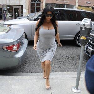 Kim-Kardashian-Tight-Gray-Maternity-Dress