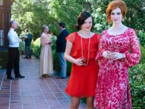 Elisabeth Moss as Peggy Olson and Christina Hendricks as Joan Harris - Mad Men _ Season 7B, Gallery - Photo Credit: Frank Ockenfels 3/AMC
