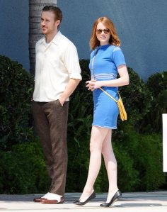 Emma-Stone-Blue-Striped-Dress