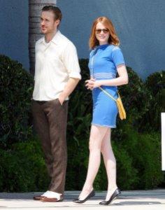Emma-Stone-Blue-Striped-Dress